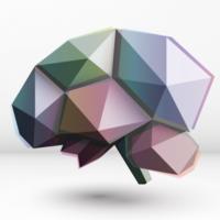 Vor weißem Hintergrund ist ein polgones Gehirn in Regenbogenfarben abgebildet.