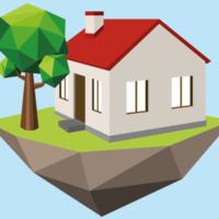 Das Bild ist in polygoner Optik auf hellblauem Hintergrund gestaltet. Ein Haus steht auf einem grünen Untergrund, der als Aushub der Erde braun unterlegt ist. Neben dem Haus steht ein Baum.