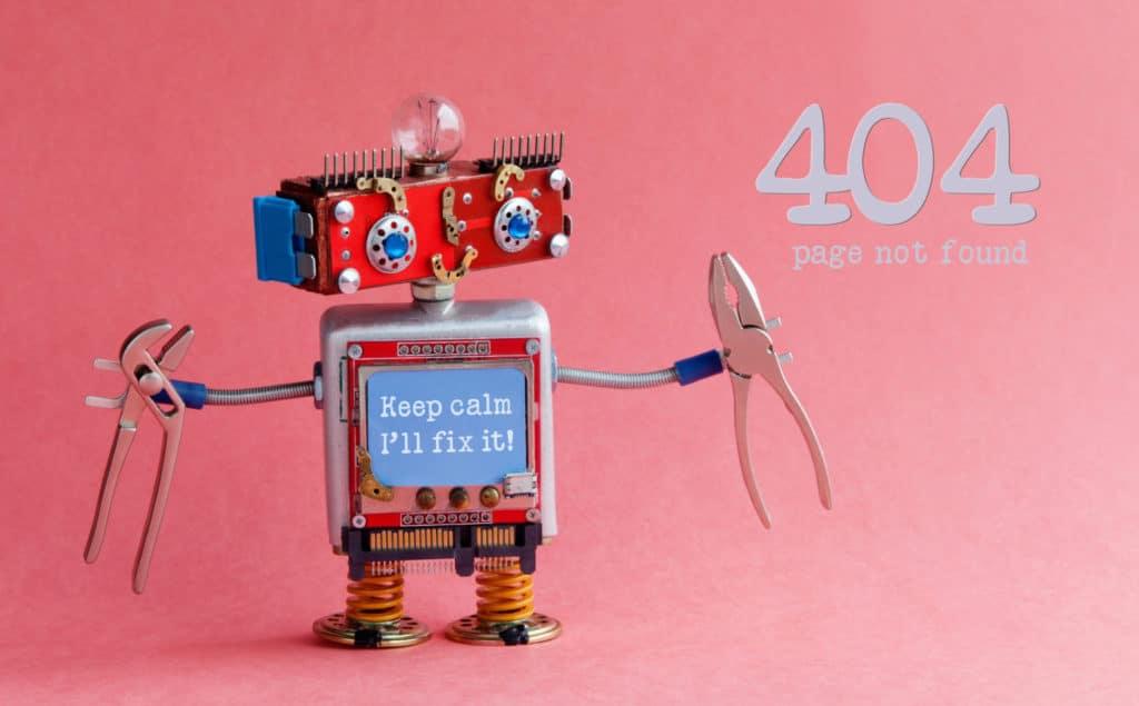 """Dekoratives Bild. Ein kleiner Roboter, der aus Altmetall zusammengebaut ist, hält in beiden Händen Zangen. Er steht vor einem rötlichen Hintergrund. Auf seinem Bauch steht """"Ich werde das Problem lösen"""". Rechts neben ihm steht """"404, Seite nicht gefunden""""."""