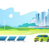 Das Bild ist eine Illustration in grün-bläulichen Farbtönen. Vorne steht ein PkW an einer Ladesäule neben Solarpanels. Im Hintergrund eine Skyline und Windräder.
