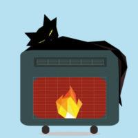 Das Bild ist in polygoner Optik und zeigt eine schwarze Katze, die sich auf einem Ofen mit einem brennenden Feuer ausruht.