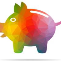 Ein regenbogenfarbenes Sparschwein in polygoner 3D-Optik auf weißem Hintergrund