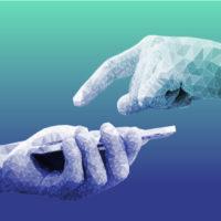 Zwei Hände in polygoner 3-D-Optik schweben übereinander vor einem blau-grünen Hintergrund. Die untere hält ein Smartphone, die obere zeigt mit dem Finger darauf.