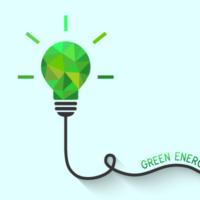 Die Illustration in 3-D-Optik zeigt eine grüne Glühbirne mitsamt Kabel