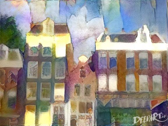 Das Bild zeigt eine Häuserfront aus schmalen und einem etwas breiteren Haus. Das Bild wirkt wie mit Wasserfarbe gemalt, und zwar im Stile des Malers August Macke. Die Farben sind bund und etwas zerlaufen. Im Hintergrund ist blauer Himmel zu sehen.