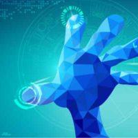 Der Hintergrund ist türkisgrün. Eine blaue Hand in polygoner dreidimensionaler Optik zeigt eine geöffnete Hand in Richtung des Betrachters. Zwischen beiden scheint eine Glasfläche zu sein, denn die Fingerspitzen sehen aus als berührten sie einen Gegenstand.
