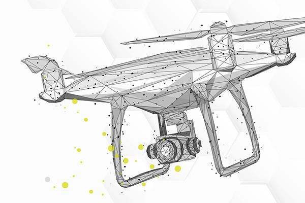 Das Bild zeigt eine Illustration: Eine stilisierte Drohne, die aus dreieckigen Flächen und Punktrastern zusammengesetzt ist, scheint in der Luft zu schweben. Das Ganze ist in verschiedenen Grautönen mit ein paar grünen Punkten gehalten
