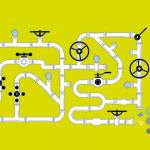 Das Bild zeigt das Titelmotiv der Ausgabe 1 / 2020. Auf hellgrünem Hintgergrund befindet sich ein Gewirr aus Rohren mit Ventilen an verschiedenen Stellen. Oben links gießt ein Eimer eine hellblaue Flüssigkeit in das Rohrsystem. Unten rechts kommen verschiedenfarbige Blasen aus einer Rohröffnung heraus