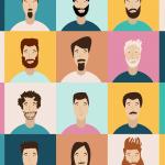 Im Comic-Style sind verschiedene menschliche Gesichter zu sehen. Angeordnet in einem 4x5 Raster.