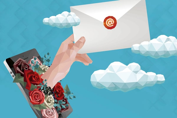 Das Bild ist eine Illustration in polygoner 3-D-Optik. Der Hintergrund ist blau, darauf sind ein paar weiße Wolken. Vorne links befindet sich ein Smartphone, bedeckt mit Rosenblüten. Aus dem Smartphone ragt eine Hand hervor, die einen Brief in die Luft hält.