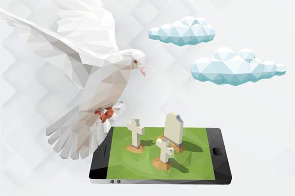 Das Bild ist eine Illustration in polygoner 3-D-Optik. Auf weißem Hintergrund befinden sich ein paar Wolken. Im Vordergrund rechts ein Tablet - die Frontfläche ist grün, darauf Grabsteine, die Schatten werfen. Eine Taube befindet sich im Anflug, als wolle sie auf dem Rand des Tablets landen