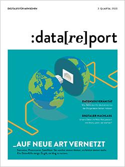 Das Bild zeigt den Titelumschlag der aktuellen Ausgabe des Kundenmagazins Data[re]port. Auf dunkel-türkisfarbenem Hintergrund befindet sich eine Weltkugel, die in zwei Hälften geteilt ist. Rechts und links laufen Kabel in die Hälfte, an beiden Halbkugeln sind Stecker zum Verbinden.