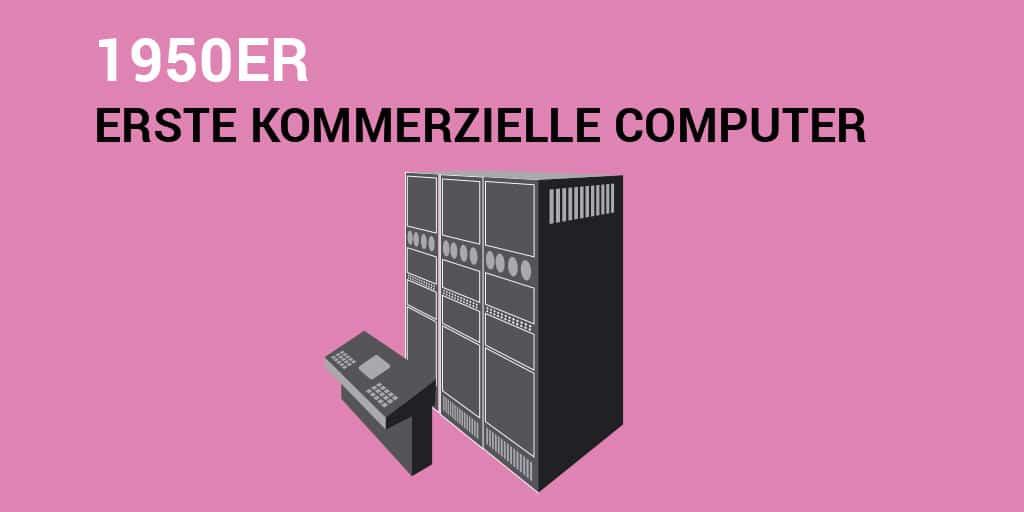Text: 1950er – erste kommerzielle Computer. Bild: ein alter Serverschrank aus den 50ern