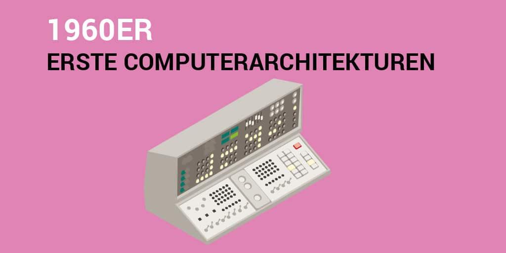 Text: 1960er – erste Computerarchitekturen. Bild: ein alter Computer aus den 60ern