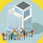 Die Illustration zeigt ein Hochhaus mit Solarzellen auf dem Dach. Vor dem Haus stehen Menschen verschiedenen Alters