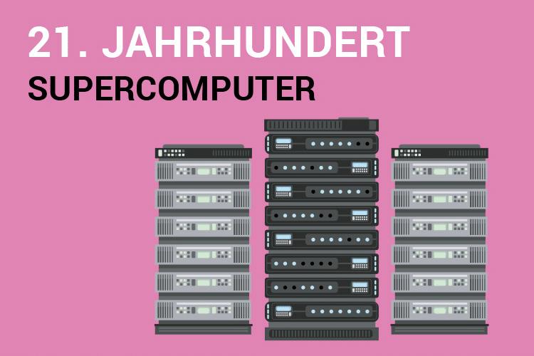 Text: 21. Jahrhundert - Supercomputer. Bild: mehrere Serverracks
