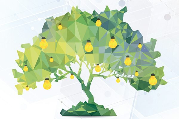 Das Bild zeigt einen grün-gelben Baum in polygoner Optik. In der Baumkrone hängen gelbe Glühbirnen. Das Bild ist ein bisschen abstrakt.