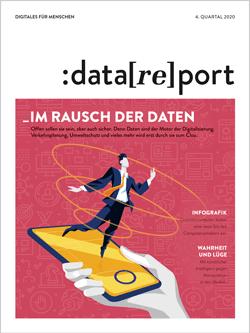 Titelblatt des Datareport 4 / 2020. Als Motiv ist rechts eine Hand zu sehen, die ein Smartphone mit einem orangenen Display hält. Darüber schwebt eine kleines Männchen in drei von unten nach oben größer werdenden Kreisen. Der Titel lautet
