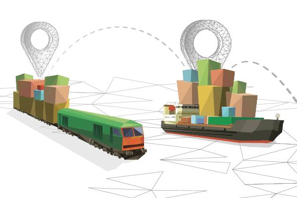 Das Bild ist eine Illustration in überwiegend grünen und braunen Tönen. Zu sehen ist ein Zug mit einem Anhänger, der mit Quadraten beladen ist. Daneben ist ein Frachtschiff, das ebenfalls verschiedenfarbige Quadrate an Bord hat. Hinter den Gütertransportern markieren Pins zwei Orte, die wiederum bogenförmig mit gestrichelten Linien miteinander verbunden sind.