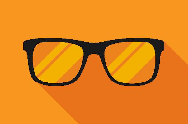 Illustration: Schwarze Brille auf orangenem Hintergrund