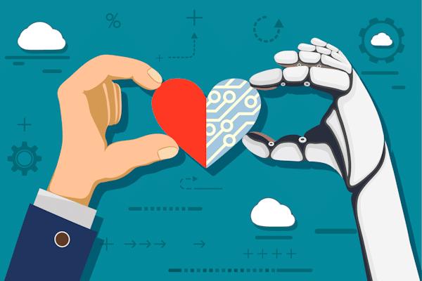 Illustration: Menschliche und Roboterhand halten ein Herz