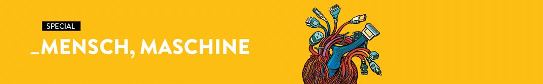"""Banner für Heft 1/2021 mit dem Titel """"Mensch, Maschine"""". Neben dem Schriftzug ist ein Geflecht von Kabeln abgebildet."""