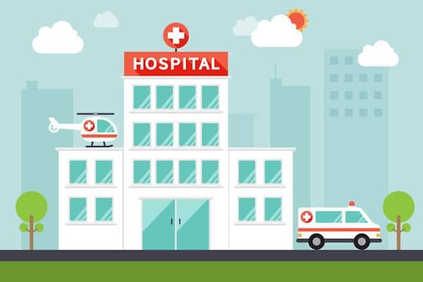 Illustration: Krankenhaus mit Hubschrauber auf dem Dach und Krankenwagen vor der Tür
