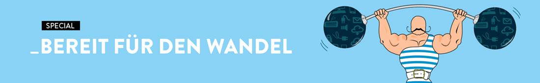 """Banner für Heft 2/2021 mit dem Titel """"Bereit für den Wandel"""". Neben dem Schriftzug ist ein muskulöser Gewichtheber mit einer großen Hantel zu sehen."""