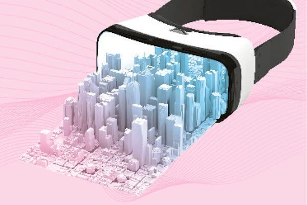 Das Modell einer Stadt mit vielen Hochhäusern ragt aus einer Virtual Reality-Brille heraus.