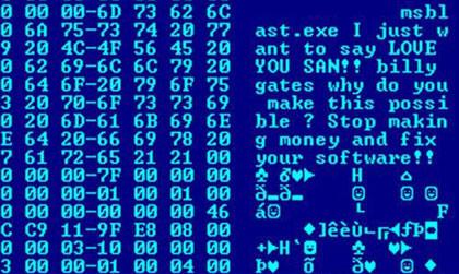 Illustration: Code des Computervirus Blaster