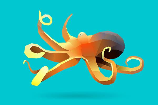 Illustration: Oktopus mit sich kringelnden Tentakeln