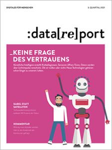"""alt=""""Cover Heft 3/2021 mit dem Titel """"Keine Frage des Vertrauens"""". Neben dem Schriftzug sind ein Mann und ein Roboter zu sehen. Beide winken."""""""