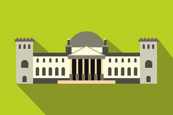 Illustration: Bundestagsgebäude vor grünem Hintergrund